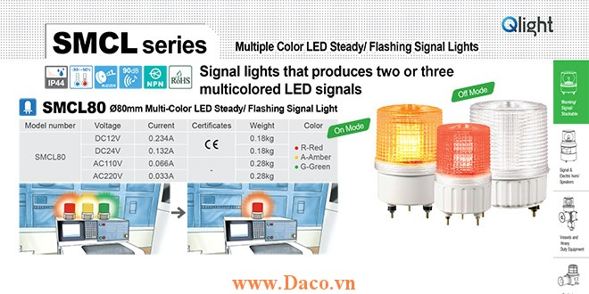 SMCL80-BZ-3-220-RAG Đèn báo hiệu 3 màu Qlight Φ80 Bóng LED Còi Buzzer 90dB 220 VAC IP44, CE
