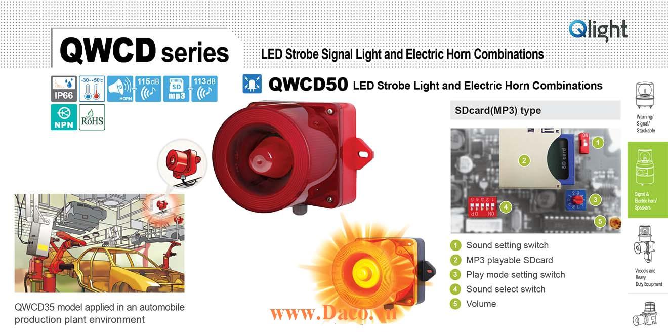 QWCD50SD-110/220-R-LC Đèn báo có Loa mp3 Qlight 31 âm báo nhạc MP3 SD 118dB IP66, CE, 110VAC/220VAC