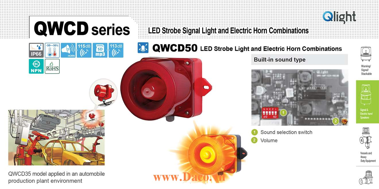 QWCD50-12/24-R-LC Đèn báo có Loa Qlight 31 âm báo 123dB IP66, CE, 12VDC/24VDC