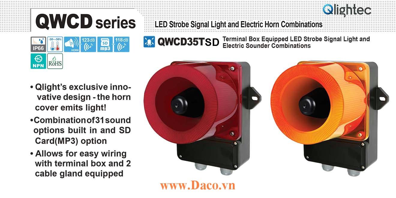 QWCD35TSD-110/220-R-LC Đèn báo có Loa mp3 Qlight 31 âm báo nhạc MP3 SD 113dB IP66, CE, 110VAC/220VAC