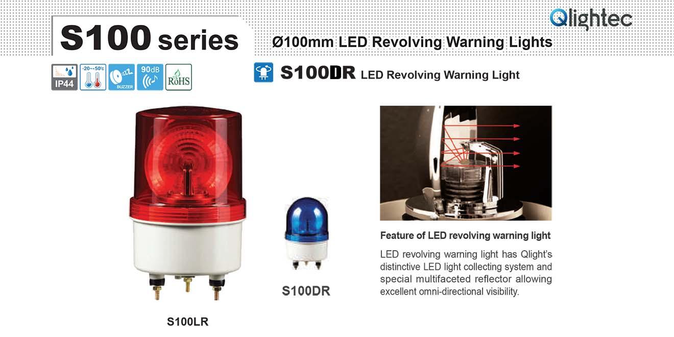 S100DR-12-R Đèn quay tín hiệu Qlight Φ100 Bóng LED IP44