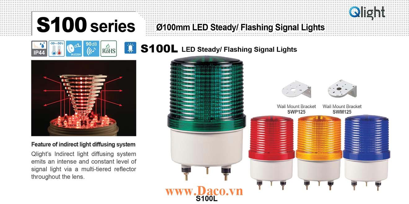 S100L-BZ-220-B Đèn cảnh báo Qlight Φ100 Bóng LED Nhấp nháy Còi Buzzer 90dB IP44