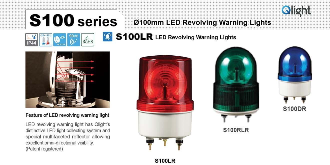S100DR-BZ-12-R Đèn quay Qlight Φ100 Bóng LED Còi Buzzer 90dB IP44