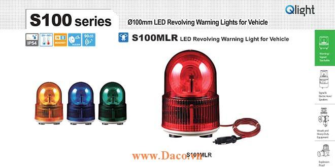 S100MLR-24-A Đèn báo nam châm hút dính-tẩu nguồn Qlight Φ100 Bóng LED Quay 24VDC IP54