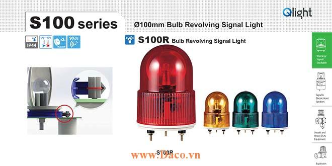 S100R-BZ-380-R Đèn quay Qlight Φ100 Bóng sợi đốt Còi Buzzer 90dB IP44