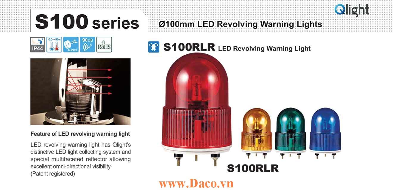 S100RLR-BZ-220-R Đèn quay Qlight Φ100 Bóng LED Còi Buzzer 90dB IP44