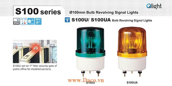S100U-BZ-220-R Đèn quay Qlight Φ100 Bóng Sợi đốt Còi Buzzer 90dB IP44