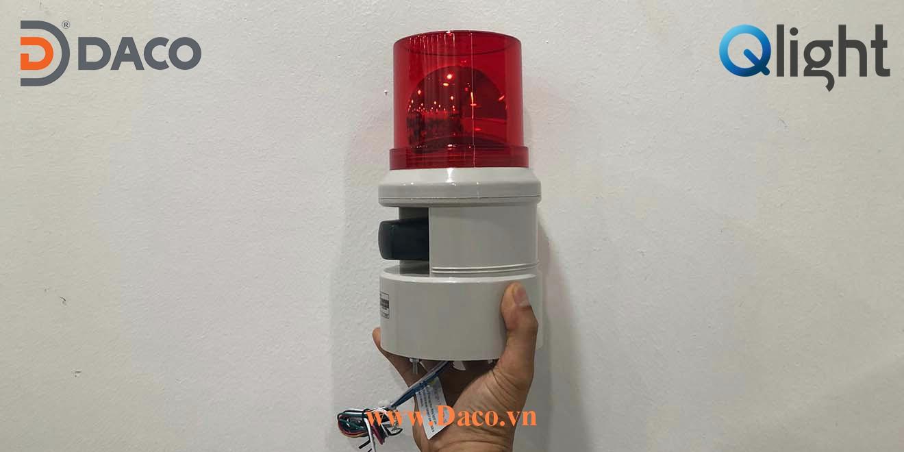 S100D Hình ảnh thực tế Đèn báo hiệu có loa 5 âm báo Qlight Hàn Quốc Φ100