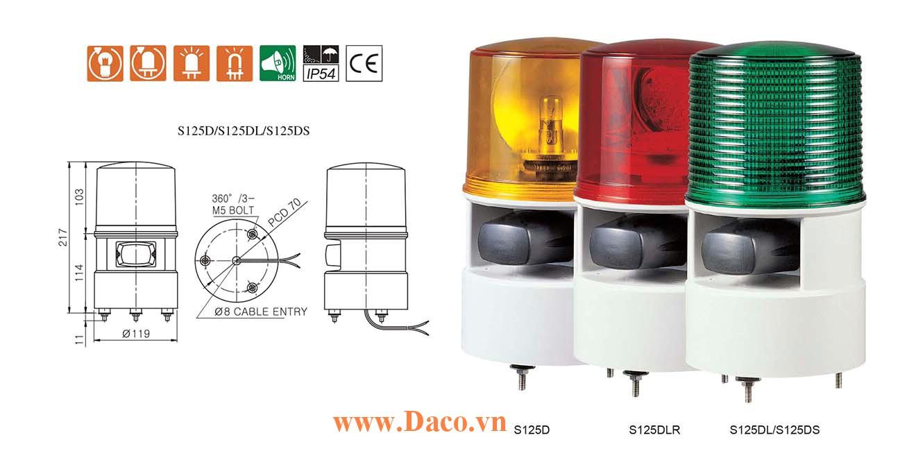 S125DLR-WM-220-A Đèn quay có loa Qlight Φ125 Bóng LED 5 âm melody 105dB IP54