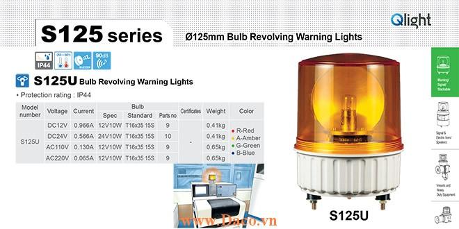 S125U-BZ-220-A Đèn quay tín hiệu Qlight Φ125 Bóng Sợi đốt 220VAC IP44