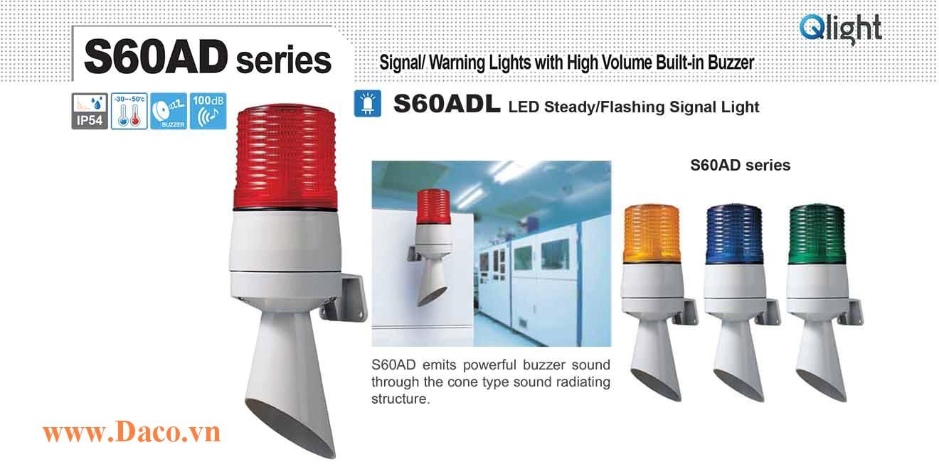 S60ADL-220-B Đèn báo hiệu gắn tường Qlight Φ60 Bóng LED Sáng liên tục/Nhấp nháy  220VAC IP54