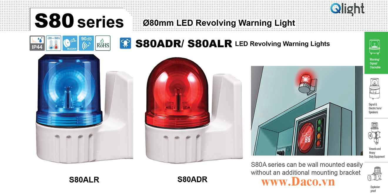 S80ADR-BZ-220-R Đèn quay tín hiệu gắn tường Qlight Φ80 Bóng LED Còi Buzzer 90dB IP44