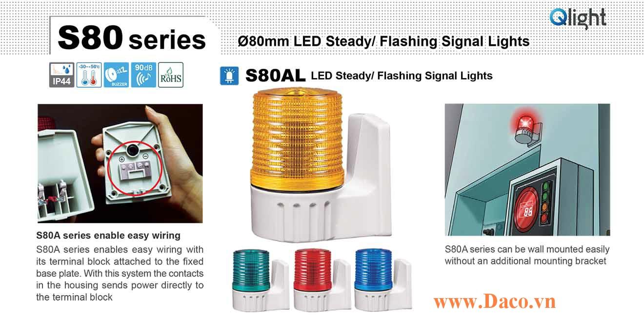 S80AL-24-A Đèn báo hiệu gắn tường Qlight Φ80 Bóng LED Nhấp nháy 24VDC IP44