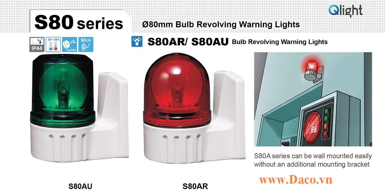 S80AR-BZ-220-B Đèn quay tín hiệu gắn tường Qlight Φ80 Bóng sợi đốt Còi Buzzer 90dB IP44