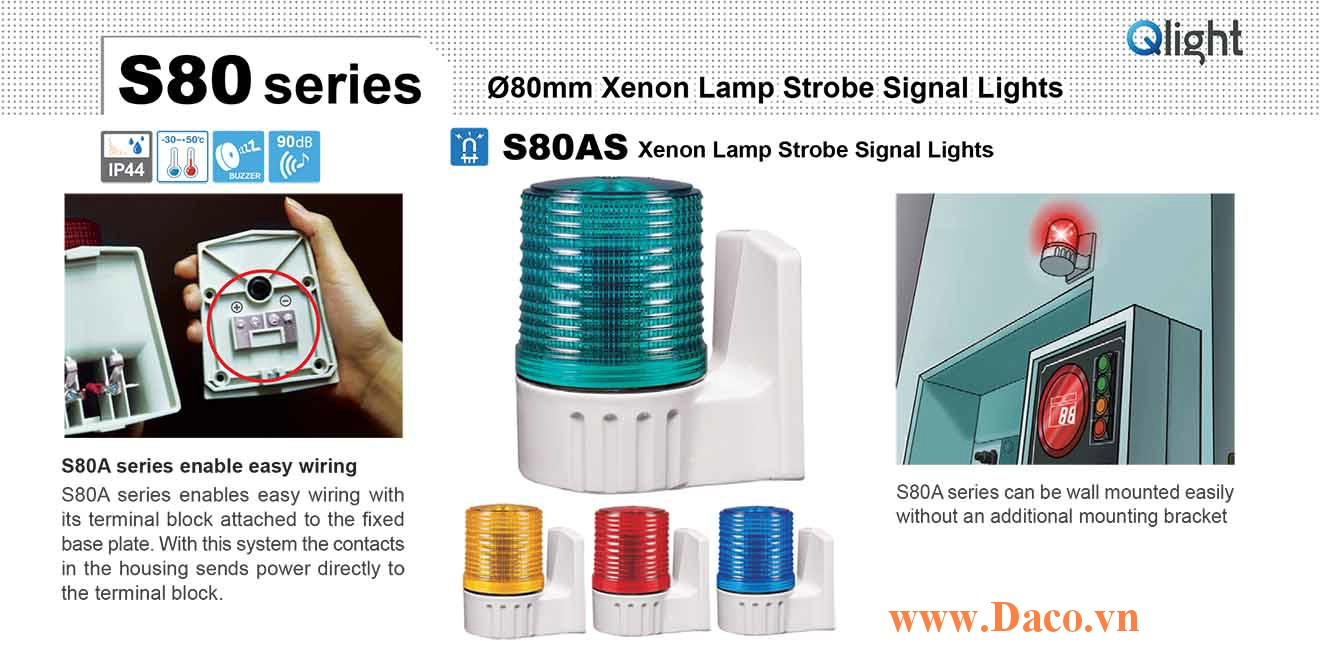 S80AS-BZ-220-B Đèn báo gắn tường Qlight Φ80 Bóng Xenon Còi Buzzer 90dB IP44