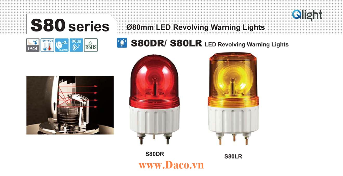 S80DR-BZ-220-R Đèn quay Qlight Φ80 Bóng LED Còi Buzzer 90dB IP44