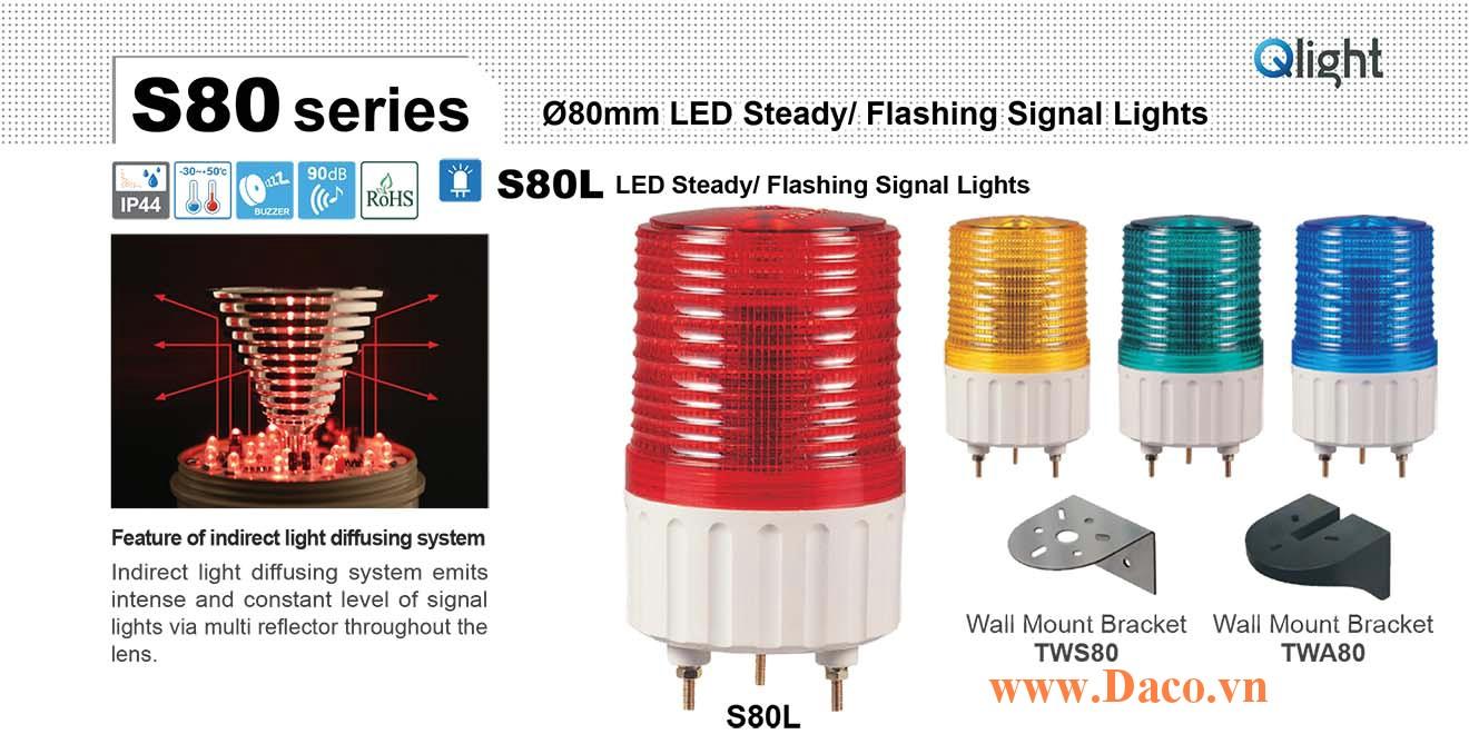 S80L-BZ-220-A Đèn cảnh báo Qlight Φ80 Bóng LED Nhấp nháy Còi Buzzer 90dB IP44