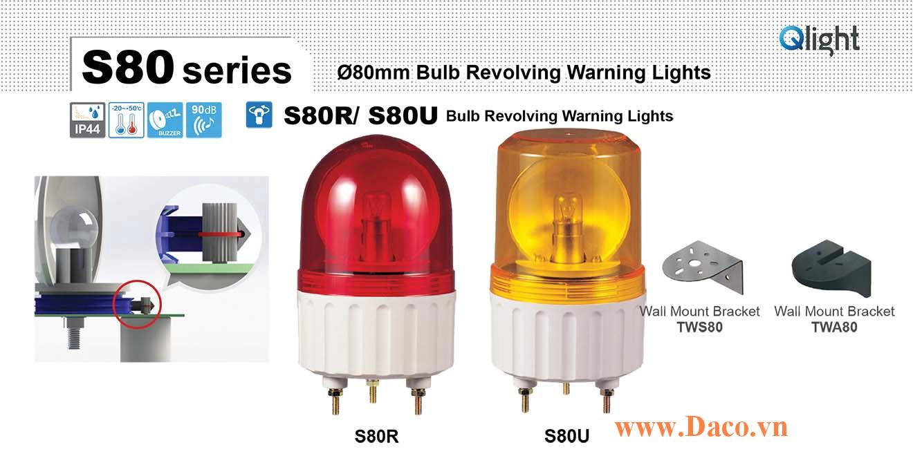S80R-BZ-220-B Đèn quay Qlight Φ80 Bóng sợi đốt Còi Buzzer 90dB IP44