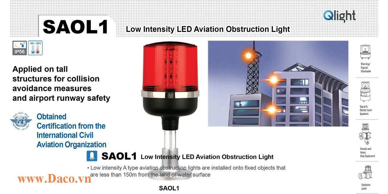 SAOL3-12-R Đèn báo không Qlight Φ157 Bóng LED Sáng Liên Tục 48cd/m IP66, ICAO, 12VDC