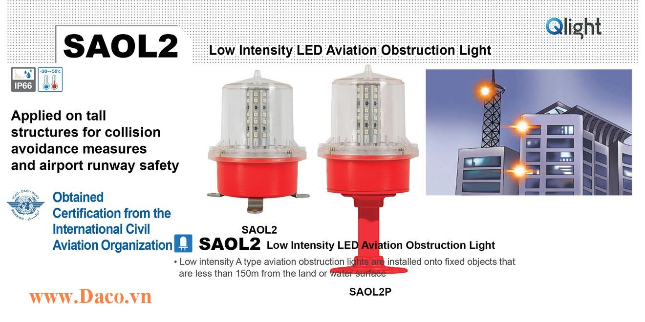 SAOLF2P-220-R-S Đèn báo không Qlight Φ139 Bóng LED Nhấp nháy IP66, ICAO, 220VAC