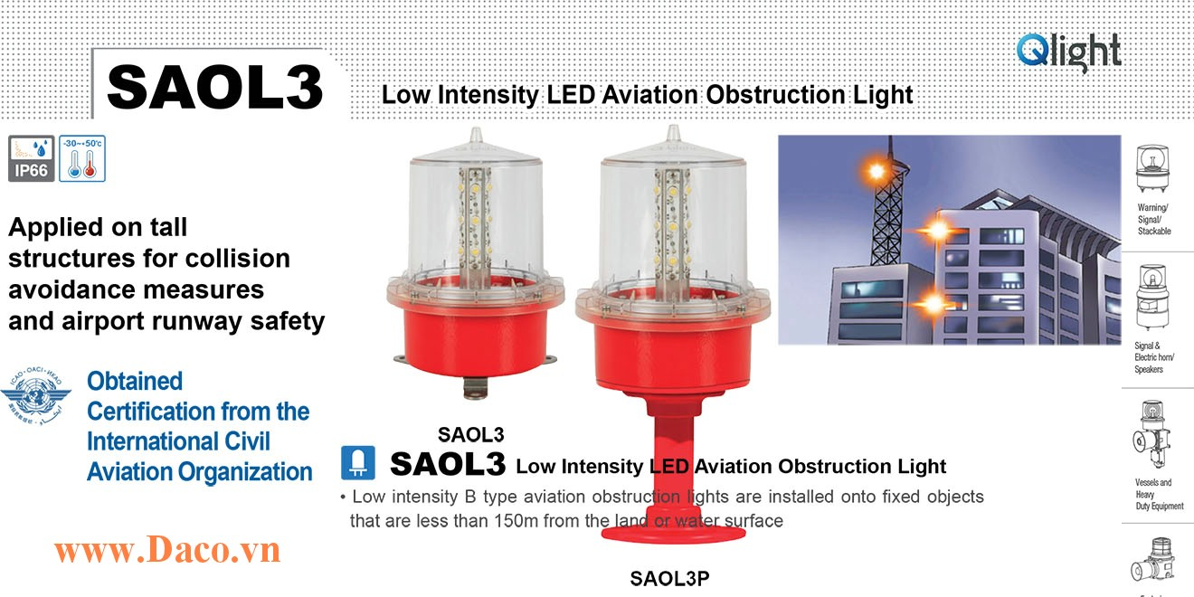 SAOLF3P-110-R Đèn báo độ cao Qlight Φ157 Bóng LED Nhấp nháy IP66, ICAO, 110VAC
