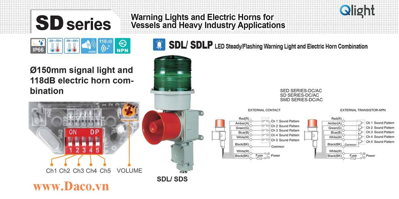 SDLP-WM-220-B Đèn cảnh báo có loa Qlight Hàng hải Φ150 Bóng Bóng LED 5 âm melody 118dB IP66, KIM, ABS, RL, KR, CE