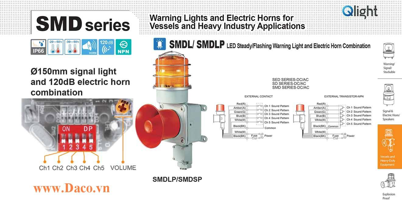 SMDLP-WP-220-A Đèn cảnh báo có loa Qlight Hàng hải Φ150 Bóng Bóng LED 5 âm báo hàng hải 120dB IP66