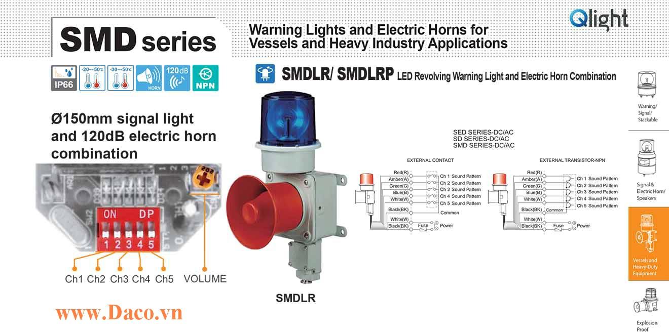 SMDLRP-WP-220-A Đèn quay có loa Qlight Hàng hải Φ150 Bóng LED 5 âm báo hàng hải 120dB IP66