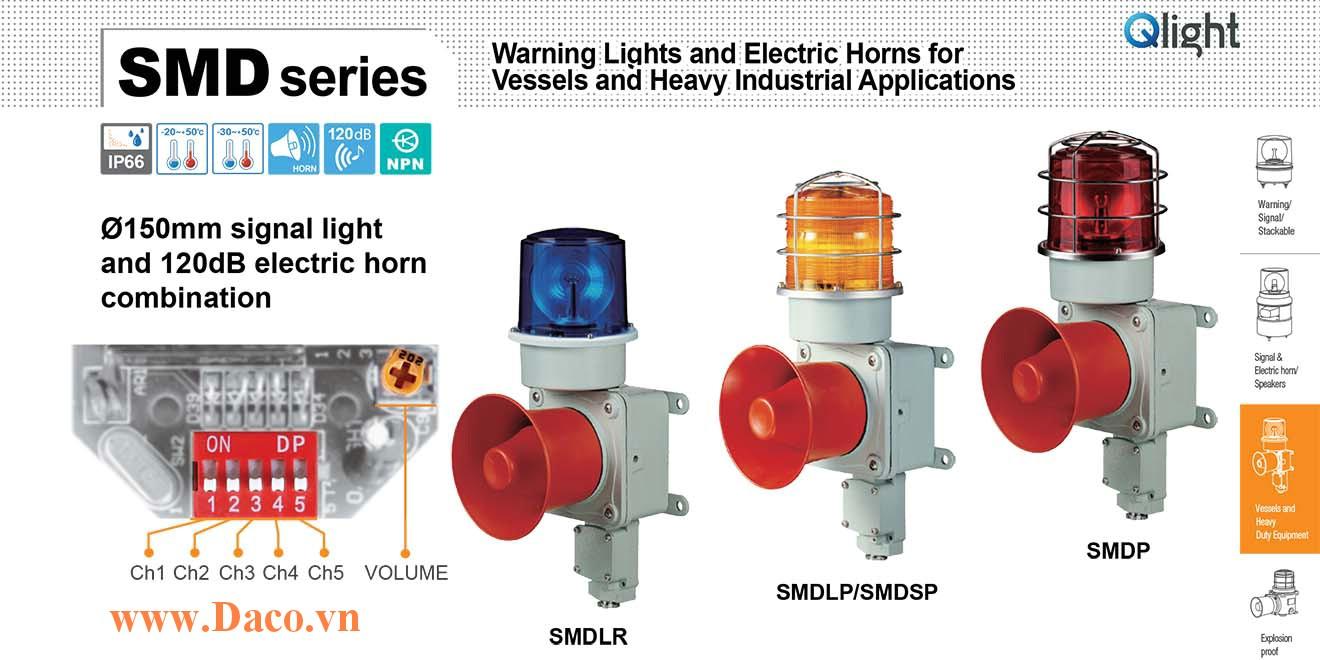 SMDSP-WM-220-B Đèn chớp báo có loa Qlight Hàng hải Φ150 Bóng Bóng Xenon 5 âm melody 120dB IP66
