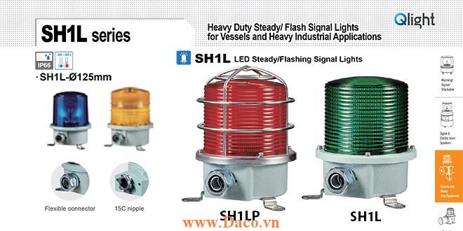 SH1TLP-220-B Đèn quay cảnh báo Qlight Φ125 Bóng LED  IP66, KIM, ABS, CE, Lồng Inox bảo vệ