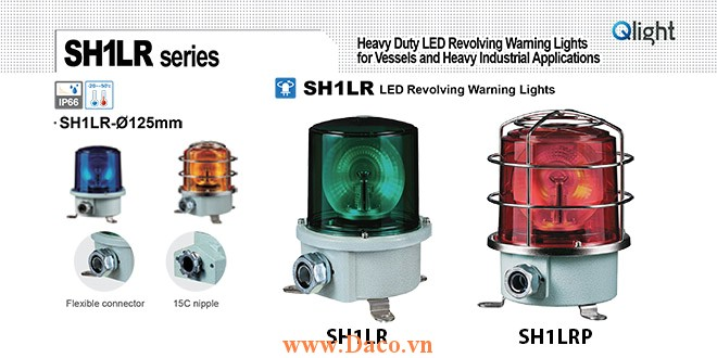 SH1TLRP-220-A Đèn quay cảnh báo Qlight Φ125 Bóng LED  IP66, KIM, ABS, CE, Lồng Inox bảo vệ