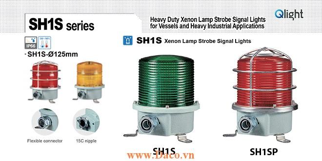 SH1TSP-220-R Đèn quay cảnh báo Qlight Φ125 Bóng Xenon  IP66, KIM, ABS, CE, Lồng Inox bảo vệ
