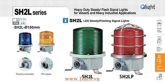 SH2TLP-220-R Đèn quay cảnh báo Qlight Φ150 Bóng LED  IP66, KIM, ABS, CE, Lồng Inox bảo vệ