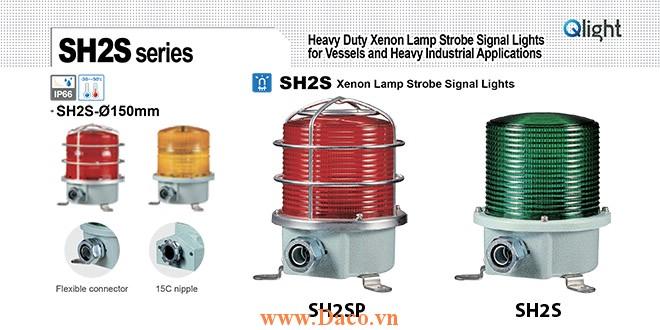 SH2TSP-220-B Đèn quay cảnh báo Qlight Φ150 Bóng Xenon  IP66, KIM, ABS, CE, Lồng Inox bảo vệ