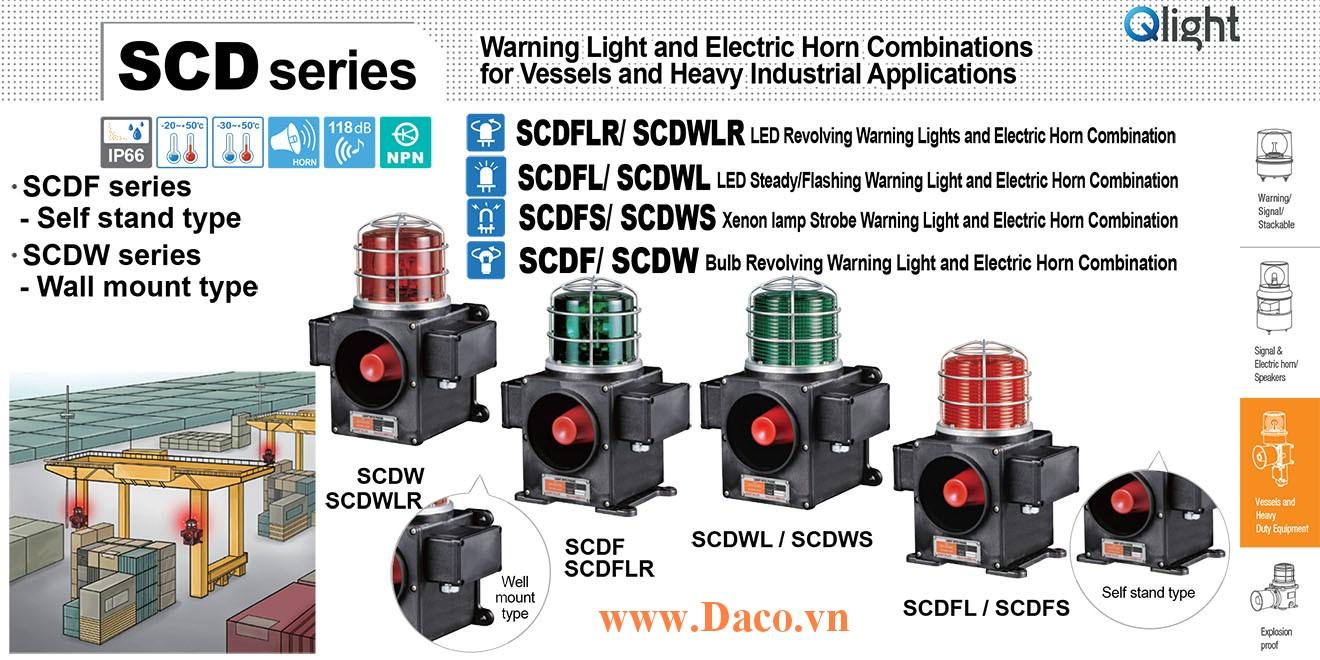 SCDWLR-WM-220-B-LC Đèn quay có loa Qlight Hàng hải Φ140 Bóng LED 5 âm melody 118dB IP66-KR