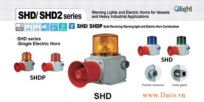 SHDP-WM-220-B-LC Đèn quay có loa Qlight Hàng hải Φ135 Bóng Sợi đốt 5 âm melody 118dB IP66, KIM, ABS
