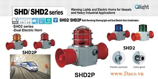 SHD2P-WM-220-B-LC Đèn quay có loa Qlight Hàng hải Φ135 Bóng Sợi đốt 5 âm melody 118dBx2 IP66, KIM, ABS