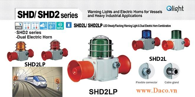 SHD2LP-WM-220-B-LC Đèn cảnh báo có loa Qlight Hàng hải Φ135 Bóng Bóng LED 5 âm melody 118dBx2 IP66, KIM, ABS