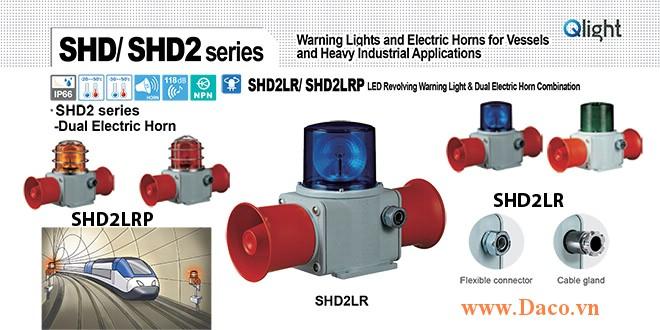 SHD2LRP-WS-220-R-LC Đèn quay có loa Qlight Hàng hải Φ135 Bóng LED 5 âm báo động 118dBx2 IP66, KIM, ABS