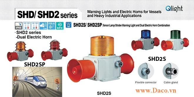 SHD2SP-WM-220-B-LC Đèn chớp báo có loa Qlight Hàng hải Φ135 Bóng Bóng Xenon 5 âm melody 118dBx2 IP66, KIM, ABS