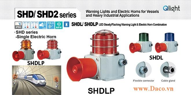 SHDLP-WM-220-B-LC Đèn cảnh báo có loa Qlight Hàng hải Φ135 Bóng LED 5 âm melody 118dB IP66, KIM, ABS