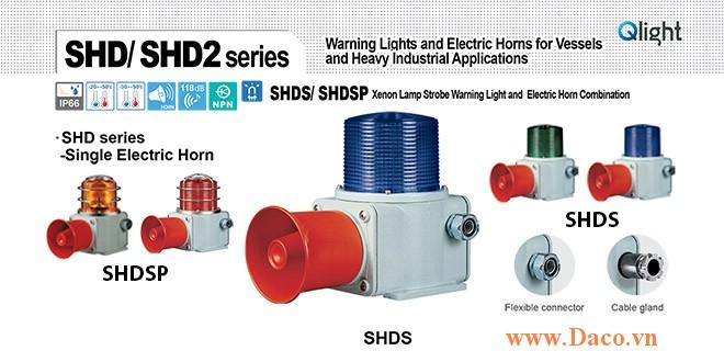 SHDSP-WM-220-B-LC Đèn chớp báo có loa Qlight Hàng hải Φ135 Bóng Bóng Xenon 5 âm melody 118dB IP66, KIM, ABS