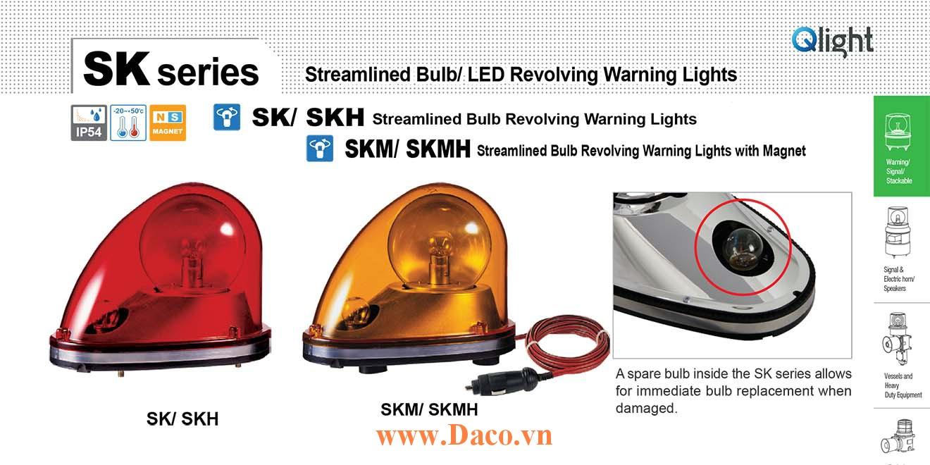 SKMH-24-B Đèn quay mai rùa cho xe Qlight 183x124x135 Bóng Sợi đốt 35W 24VDC IP54