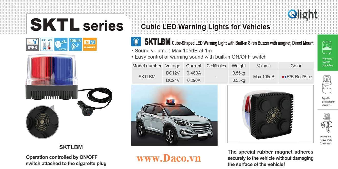 SKTLBM-24-RB Đèn báo nhấp nháy cho xe Qlight Vuông 105 Bóng LED 24VDC IP66 Nam châm hút dính-tẩu nguồn có công tắc bật tắt ON/OFF