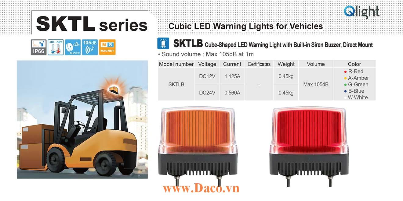 SKTLB-24-R Đèn báo nhấp nháy cho xe Qlight Vuông 105 Bóng LED 24VDC IP66 Âm còi hú báo động 105dB Gắn trực tiếp