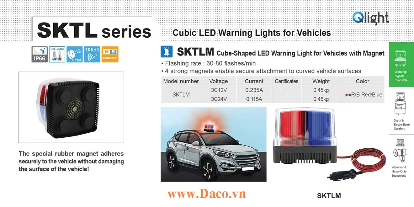 SKTLM-24-RB Đèn báo nhấp nháy cho xe Qlight Vuông 105 Bóng LED 24VDC IP66 Nam châm hút dính-tẩu nguồn