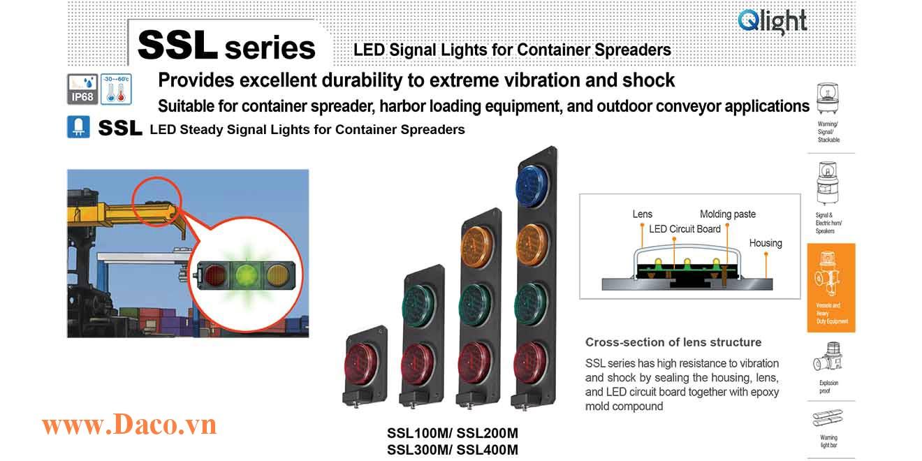 SSL400M-220-RYGB Đèn LED báo đóng mở gù Container Qlight 4 màu Bóng LED Φ93 IP68
