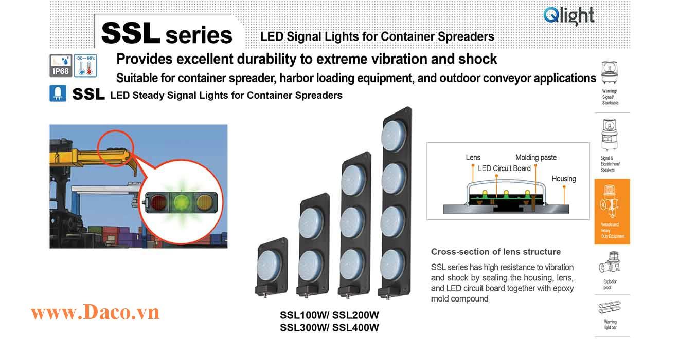 SSL400W-220-RYGB Đèn LED báo đóng mở gù Container Qlight 4 màu Bóng LED Φ93 IP68