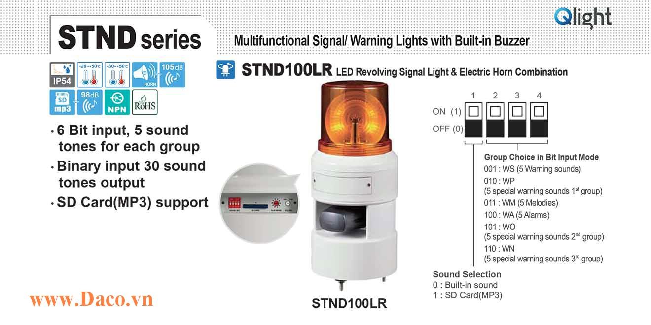 STND100LR-380-R Đèn báo hiệu quay âm MP3 Qlight Φ100 Bóng LED 380VAC IP54