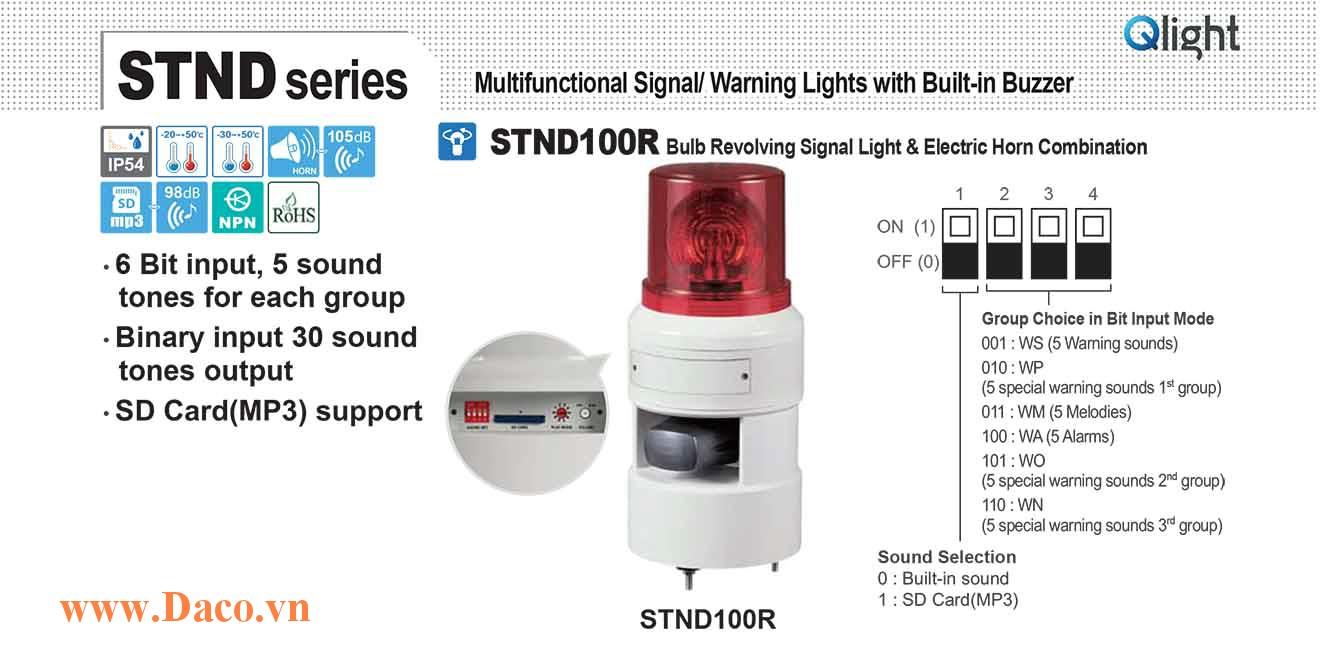 STND100R-380-R Đèn báo hiệu quay âm MP3 Qlight Φ100 Bóng Sợi đốt 380VAC IP54